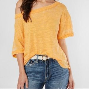 NWT Free People Open Back Tee in Bright Mango XS